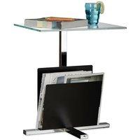 Relaxdays Side Table with Newspaper Stand, Metal, Glass Coffee Table, Magazine Shelf, HxWxD: 53 x 46 x 36 cm, Black