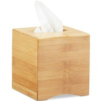 Square Facial Tissue Box, Wooden Bamboo Cosmetic Tissue Dispenser, Cover, HWD: 15.5 x 14.5 x 14.5 cm, Natural - Relaxdays