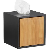 Square Facial Tissue Box, Wooden Bamboo Cosmetic Tissue Dispenser, Cover, HxWxD: 14.5 x 14.5 x 14.5 cm, Black - Relaxdays