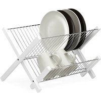 Stainless Steel Dish Drainer, 3-Tiers, Foldable, Compact Drying Stand, HxWxD: 25.5 x 39 x 30 cm, White - Relaxdays