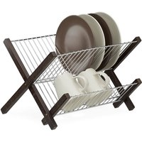 Stainless Steel Dish Drying Rack, 2 Tiers, Foldable, Compact Drainer, HWD: 25.5 x 39 x 30 cm, Dark Brown - Relaxdays