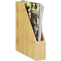 Standing Bamboo File Sorter, Lovely Natural Grain, Paper Storage, Magazine and Letter Rack, A4, Natural - Relaxdays