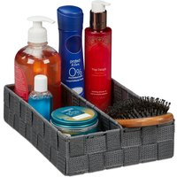 Storage Basket with Adjustable Divider Panel, Versatile Shelf Bin, 6.5 x 27 x 18 cm, Grey - Relaxdays