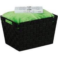 Storage Basket with Handles, Versatile Shelf and Cabinet Bin, Plastic, 22x35x25.5 cm, Black - Relaxdays