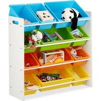 Storage Shelf Toy Organiser with Bins, MDF+Plastic, HxWxD 88x86x31cm - Relaxdays
