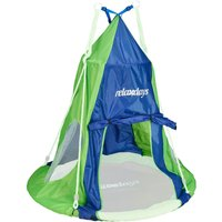 Tent For Swing Nest, Cover for Swinging Seat Disc, Hanging Swivel Chair Accessory, 110 cm, Blue/Green - Relaxdays