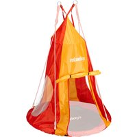 Tent For Swing Nest, Cover for Swinging Seat Disc, Hanging Swivel Chair Accessory, 90 cm, Red/Orange - Relaxdays