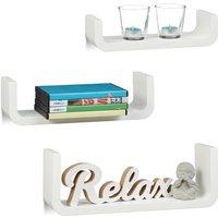 Relaxdays U-Shaped Wall Shelves Set of 3, Small Wooden Floating Shelves, 10 cm Depth, 40 cm Width, White