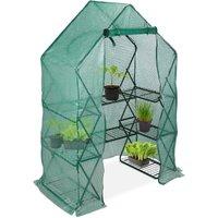Relaxdays Walk-In Foil Greenhouse, Balcony and Garden, Folding Grow Tent with Shelf, HWD 195x138x72cm, Green