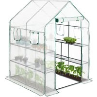 Relaxdays Walk-In Greenhouse, 4 Windows, 2 Shelves, Growing Support Film, Tomato Tent 2 m², HWD 190x140x140 cm, Transparent