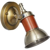 Wall Lamp, Antique Brass Look, Tilting Lampshade, Metal, Modern, E14 Socket, HWD 17.5 x 12 x 15 cm, Maritime, Brown - Relaxdays