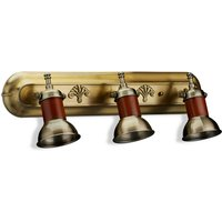 Wall Lamp Set of 3, Antique Brass Look, Tilting Lampshade, Metal, Modern, E14 Socket, HWD 17.5 x 12 x 15 cm, Maritime, Brown - Relaxdays
