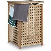 Walnut Laundry Hamper Wooden Laundry Storage Bin Basket with Lid, 67.5 x 45.7 x 45.7 cm, Laundry Organizer, Laundry Box Wood with Linen Sack Bag,