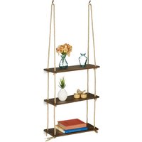 Wooden Floating Shelf with Rope, Set of 2, Display, Decoration, Kitchen, Bedroom, HxWxD: 63 x 43 x 13 cm, Brow - Relaxdays