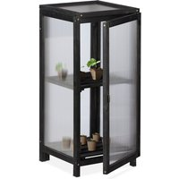 wooden greenhouse, cold frame, outdoor, 2 shelves, 36x36x800 cm (LxWxH), door and top window, plants, black - Relaxdays