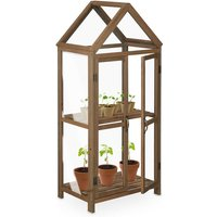 wooden greenhouse, cold frame, outdoor, 2 shelves, double doors, 66x47.5x146 cm (LxWxH), seedlings, brown - Relaxdays