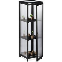 wooden greenhouse, cold frame, outdoor, 3 shelves, 36x36x120 cm (LxWxH), door and top window, plants, black - Relaxdays
