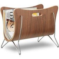 Wooden Newspaper Stand, Bentwood, Magazine Rack, Modern Design, Robust, with Handles, HxWxD: 30 x 37 x 25 cm, Brown - Relaxdays