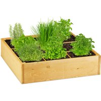 wooden raised bed, square, 9 compartments, fleece liner, cold frame for garden, patio, 60x60x15 cm (LxWxH) - Relaxdays