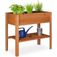 Relaxdays Wooden Raised Garden Bed, Shelf, Balcony Planter Box, Patio and Garden, HWD 80 x 88 x 43.5 cm, Light Brown