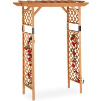 Wooden Rose Trellis Arch, Large Garden Arbour, Weatherproof Climbing Support For Plants, Extra Wide, 230x162x79 cm, Orange - Relaxdays