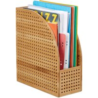 XL Bamboo File Sorter, A4, Extra Wide, Magazine and Paper Rack, HWD 30.5 x 26.5 x 12 cm, Natural - Relaxdays