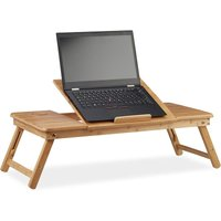 Relaxdays XL Bamboo Laptop Riser Stand, Ideal Ventilation, Height-Adjustable, 5 Angles, With Drawer, Natural
