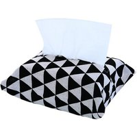 Removable cotton and linen cloth art tissue storage bag, black triangle
