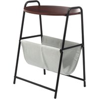 Kingso - Removable Side Table Bedside Nightsand Laptop Desk Stand With Storage Basket 45x38x67cm Red mahogany
