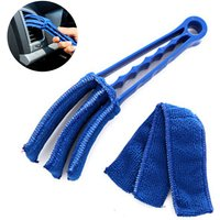 Removable Washable with Microfiber Blind Cleaner Window Blind Duster Brush For The Blinds Air Conditioner Car Air AC Vent and More, blue