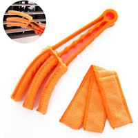 Removable Washable with Microfiber Blind Cleaner Window Blind Duster Brush For The Blinds Air Conditioner Car Air AC Vent and More, orange