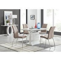 Renato 120cm High Gloss Extending Dining Table and 4 Cappuccino Isco Chairs