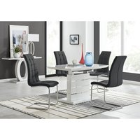 Renato 120cm High Gloss Extending Dining Table and 4 Black Murano Chairs