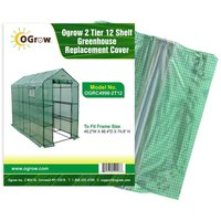 Replacement Polyethylene Plastic Cover for 2 Tier 12 Shelf Walk In Greenhouse, Garden Grow House - 49.2 W x 98.4 D x 74.8 H - Green