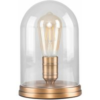 Aged Brass Effect Metal Base Table Lamp Clear Glass Domed Shade - No Bulb - Gold