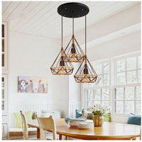 Retro Antique Pendant Light Diamond 25CM Ceiling Light Industrial Chandelier Black Vintage Hemp Rope 3 Heads Hanging Lamp