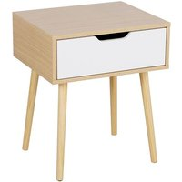 Retro Bedside Table End Table Nightstand with Storage Drawer and Solid Wood Legs Living Room Bedroom Furniture 48 x 40 x 58cm - YAHEETECH