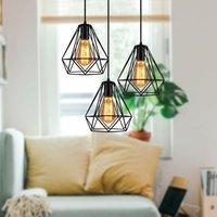 Retro Ceiling Lamp Black Vintage 3 Lights Chandelier Industrial Pendant Light Ø20CM Diamond Hanging Light Metal Pendant Lamp