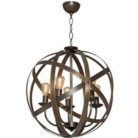 Retro Hanging Lamp - Round Pendant Light - Brown, Made in Me