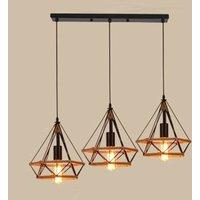 Retro Industrial Chandelier Diamond Ceiling Light Hemp Rope Hanging Lamp Black Creative 3 Lights Pendant Light for Office Loft Bar Cafe Ø25cm