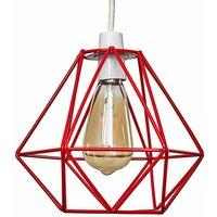 Metal Basket Cage Ceiling Pendant Light Shade - Red - MINISU