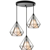 Retro Pendant Light 3 Lamp Holders Chandelier, Vintage Hanging Light Metal Iron Pendant Lamp Diamond Cage Ceiling Light Ø25cm Black