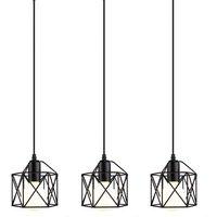 Retro Pendant Light Industrial Vintage Chandelier Iron Metal Cage Hanging Light E27 Black for Restaurant Living Room E27