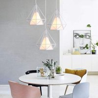 Retro Pendant Light Vintage Hanging Light White Industrial Chandelier Metal Iron Pendant Lamp E27 25cm Diamond Shape Ceiling Light