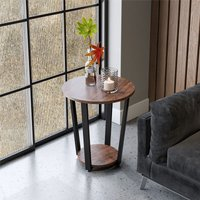 Retro Rustic Wood Side Table 2 Tier Round Coffee Table Lamp Stand Metal Frame - LIVINGANDHOME