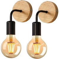 Retro Wall Light, Vintage Wall Light, Metal and Wood, E27 Lamp, for Living Room, Bedroom, Industrial Decor, Set of 2