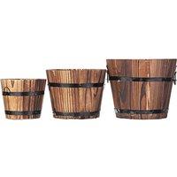 Retro Wooden Barrel Flower Pot Decoration Style A Round