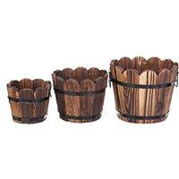 Augienb - Retro Wooden Barrel Flower Pot Decoration Style C Wave