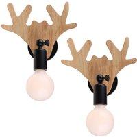 Retro Wooden Wall Lamp Black Modern Cute Deer Wall Light Creative Antler Chandelier for Bar Attic Cafe Christmas (2 pack)