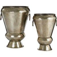 Reza Planters, Antique Silver Finish, Set of 2 - BIG LIVING
